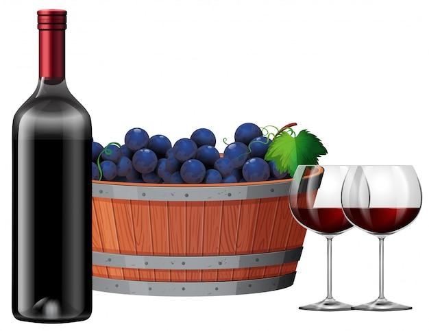 Czerwone wino z barrell winogron illustartion