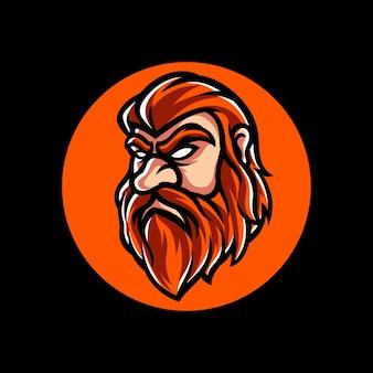Czerwone Włosy Sportowe Logo Premium Wektorów