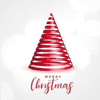 Czerwone wstążki 3d drzewa na wesołych świąt bożego narodzenia