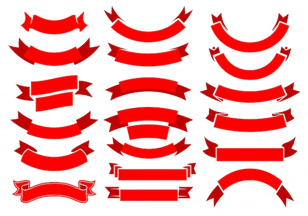 Czerwone wstążki, banery, zwoje vintage,