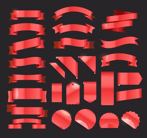 Czerwone wstążki, metki i naklejki w stylu retro wektor duży zestaw