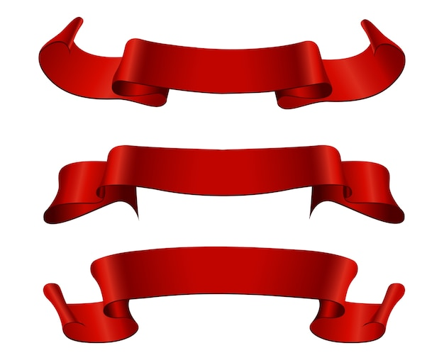 Czerwone wstążki retro banery