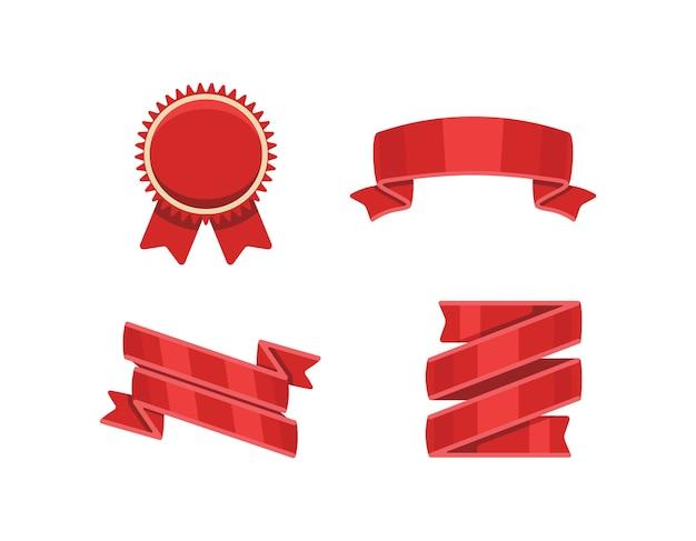 Czerwone wstążki ustawione na białym tle kolekcja transparentu ozdobnej wstążki