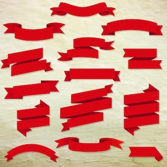 Czerwone wstążki www zestaw z ilustracji gradientu siatki