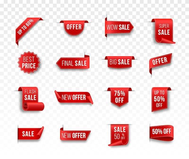 Czerwone wstążki z pustą etykietą i banery sprzedaży zestaw 3d matowa ikona z przezroczystym cieniem