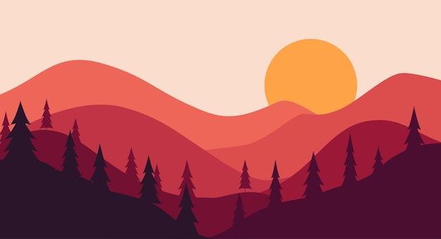 Czerwone wzgórze krajobrazowe z gradientowym tłem słońca