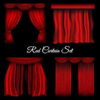 Czerwone zasłony na przezroczystym tle