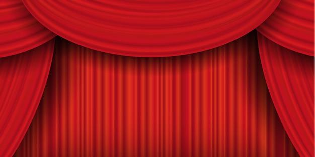 Czerwone zasłony, realistyczna luksusowa zamknięta zasłona. zasłony teatralne, tkanina dekoracyjna tkanina wewnętrzna draperia tekstylna lambrekin. ilustracja wektorowa