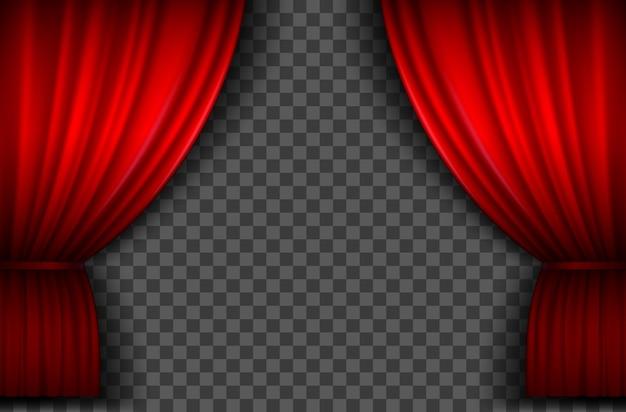 Czerwone zasłony. realistyczna otwarta kurtyna sceniczna z aksamitu do spektaklu teatralnego, cyrku lub kina. zasłony portiere na szablon wektora ceremonii premierowej. teatralna czerwona draperia do dekoracji, klasyczny luksusowy aksamit