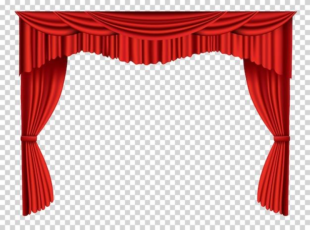 Czerwone zasłony realistyczne. tkanina teatralna jedwabna dekoracja do kina lub sali operowej. zasłony i draperie obiekt do dekoracji wnętrz. na białym tle przezroczysty na scenie teatralnej.