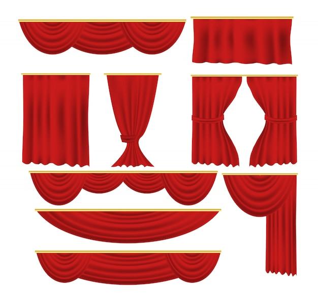 Czerwone zasłony ustaw realistyczną luksusową zasłonę