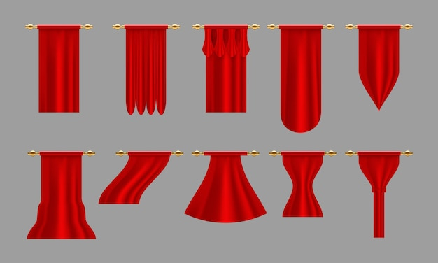 Czerwone zasłony. zestaw realistyczna luksusowa zasłona gzyms wystrój domowa tkanina wnętrze draperia tekstylna lambrekin, ilustracja wektorowa zestaw zasłon