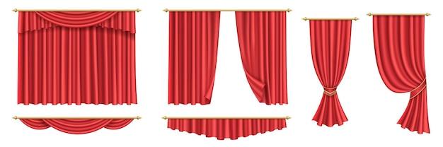 Czerwone zasłony. zestaw realistycznych luksusowych tkanin dekoracyjnych gzymsów kurtynowych do wnętrz draperii na otwarcie imprezy, ceremonię, kino lub scenę. 3d ilustracji wektorowych