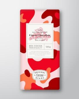 Czerwone żeberka czekoladowe etykiety abstrakcyjne kształty wektor układ projektowania opakowań