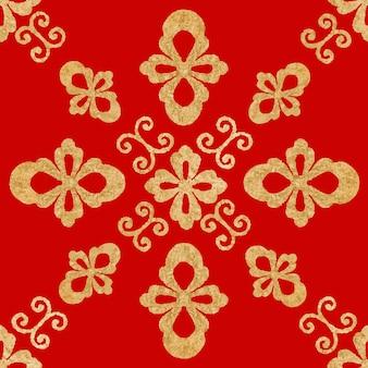 Czerwone złoto chiński wzór sztuki bezszwowe tło