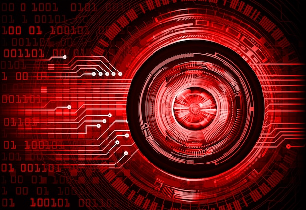 Czerwonego oka cyber obwodu technologii pojęcia przyszłościowy tło