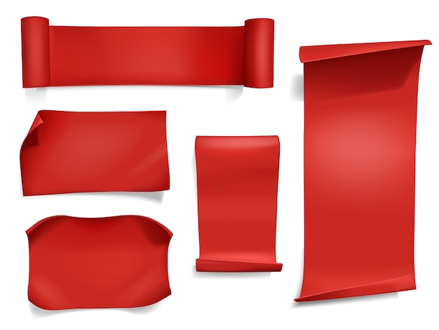 Czerwoni faborki i sztandary ilustracyjni. 3d realistyczny zakrzywiony papier, satynowy tekstylny lub jedwabny zwój
