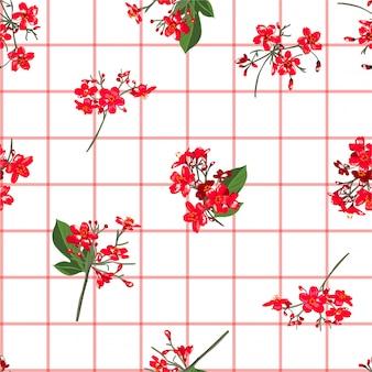 Czerwoni kwitnący ogrodowi kwiaty na ręka rysującym nadokiennym czeku lub siatki rozpraszają bezszwowego deseniowego wektorowego rozpraszają dla mody, tkanina