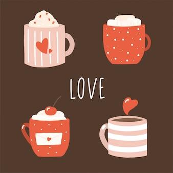 Czerwoni valentines kawowi w retro stylu na brązie