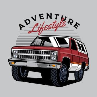 Czerwono-biała ciężarówka terenowa 4x4 na przygodę