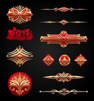 Czerwono-złote luksusowe elementy