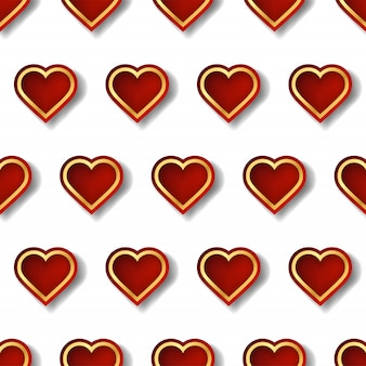 Czerwono-złote serce z kreatywnym kształtem w geometrycznym stylu.