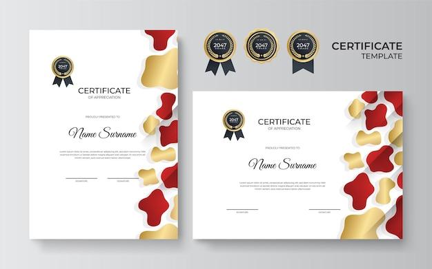Czerwono-złoty certyfikat osiągnięcia szablonu ze złotą odznaką i ramą obramowania
