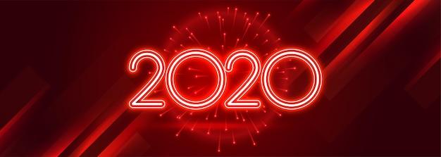 Czerwony 2020 szczęśliwego nowego roku celebracja błyszczący sztandar