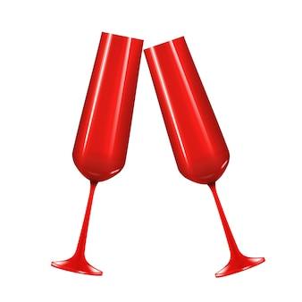 Czerwony 3d realistyczny kieliszek do szampana na białym tle