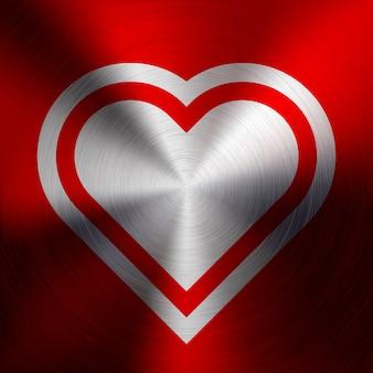 Czerwony abstrakcjonistyczny serce znak na metal teksturze