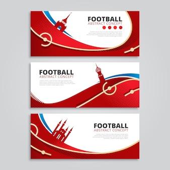 Czerwony abstrakcyjny sztandar piłka nożna / piłka nożna z rosyjskim motywem i zabytkami