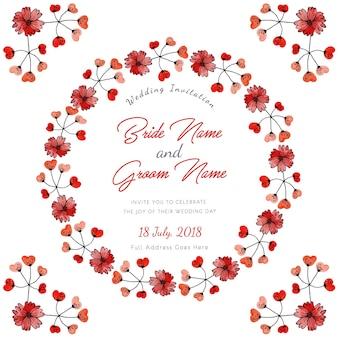 Czerwony akwarela kwiatu zaproszenie na ślub