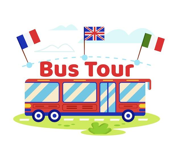 Czerwony autobus turystyczny z włoskimi, angielskimi, francuskimi flagami