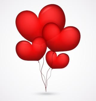 Czerwony balon kształt serca