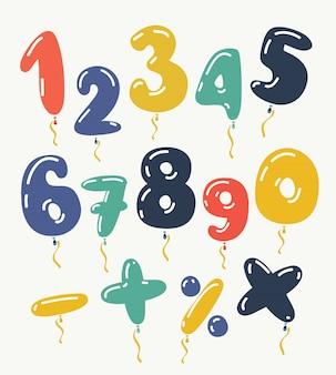 Czerwony balon metalowy numer 1, 2, 3, 4, 5, 6, 7, 8, 9, 0. strona dekoracji złote balony. znak rocznica szczęśliwego święta, uroczystości, urodzin, karnawału, nowego roku. sztuka