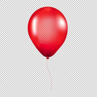 Czerwony balonik na białym tle przezroczyste tło z siatki gradientu, ilustracja