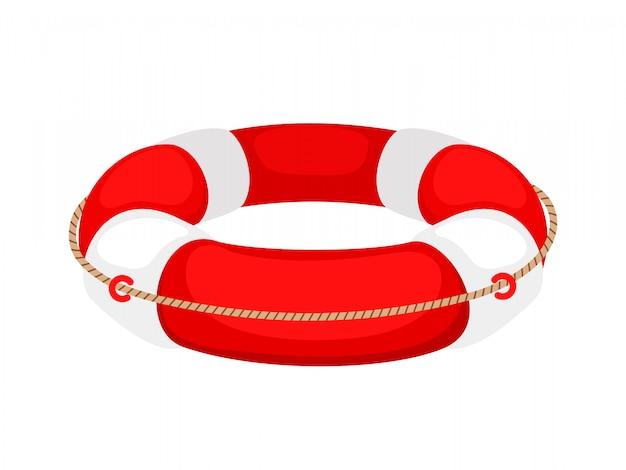 Czerwony biały koło ratunkowe na białym tle