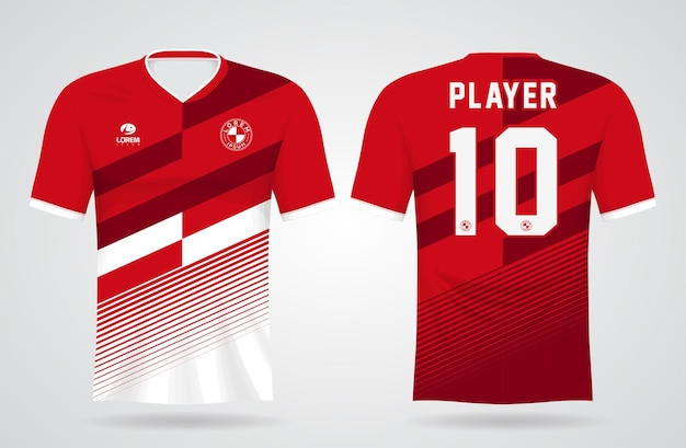 Czerwony biały szablon koszulki sportowej do mundurów drużynowych i projektu koszulki piłkarskiej