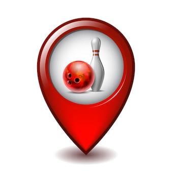 Czerwony błyszczący kula do kręgli i biała szpilka do kręgli na ikonie znacznika mapowania. sprzęt do zawodów sportowych lub gry rekreacyjno-rozrywkowej na map pointer. ilustracja wektorowa na białym tle