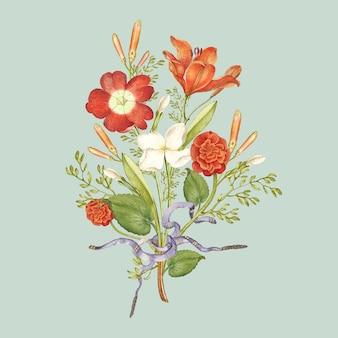 Czerwony bukiet kwiatów na zielonym tle