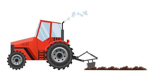Czerwony ciągnik rolniczy uprawia ziemię. ciężkie maszyny rolnicze do transportu prac polowych w gospodarstwie w stylu płaskiej. ilustracja ciągnika rolniczego
