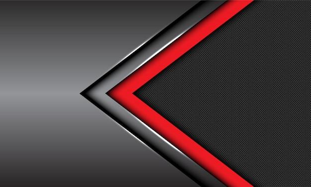 Czerwony ciemnoszary metaliczny strzałka kierunku koło siatki futurystyczne tło.