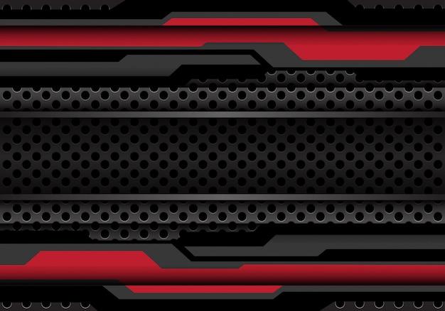 Czerwony ciemny szary wielokąt cyber na tle siatki koło.