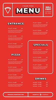 Czerwony cyfrowy szablon menu restauracji