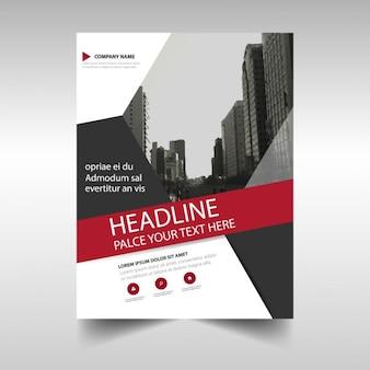 Czerwony czarny oszczędny raport roczny szablon okładki książki