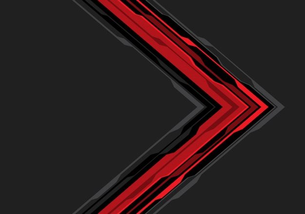 Czerwony czarny strzałkowaty obwód na popielatym pustej przestrzeni tle.