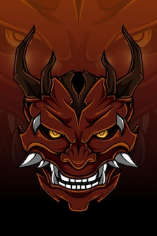 Czerwony demon z ilustracji wektorowych róg drewna