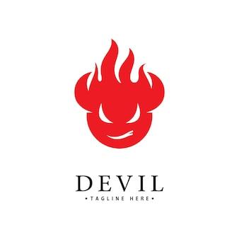 Czerwony diabeł logo wektor ikona szablonu