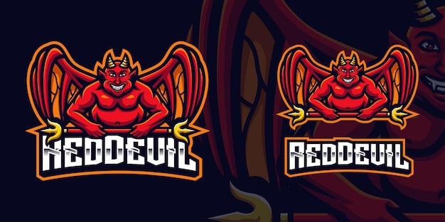 Czerwony diabeł trzymający złoty kij maskotka szablon logo gier dla streamera e-sportowego facebook youtube