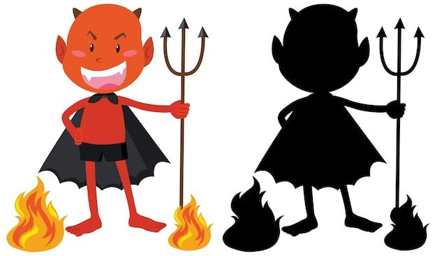 Czerwony diabeł w ogniu z jego sylwetka